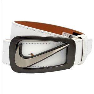 Nike Golf Grip Tech Leather Cut Out Belt White 30